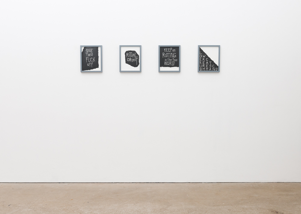 Michael Gumhold (from left to right): Untitled (The Ramones), 2011; Untitled (Ritual Object), 2010; Untitled (Keep on Rotting), 2010; Untitled (Lower Creatures), 2010. Tinte, Bleistift und Wasserfarbe auf Papier, je 30 x 24 cm, 2014